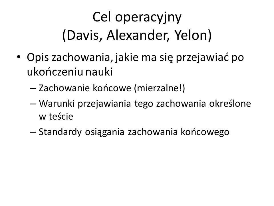 Cel operacyjny (Davis, Alexander, Yelon) Opis zachowania, jakie ma się przejawiać po ukończeniu nauki – Zachowanie końcowe (mierzalne!) – Warunki prze