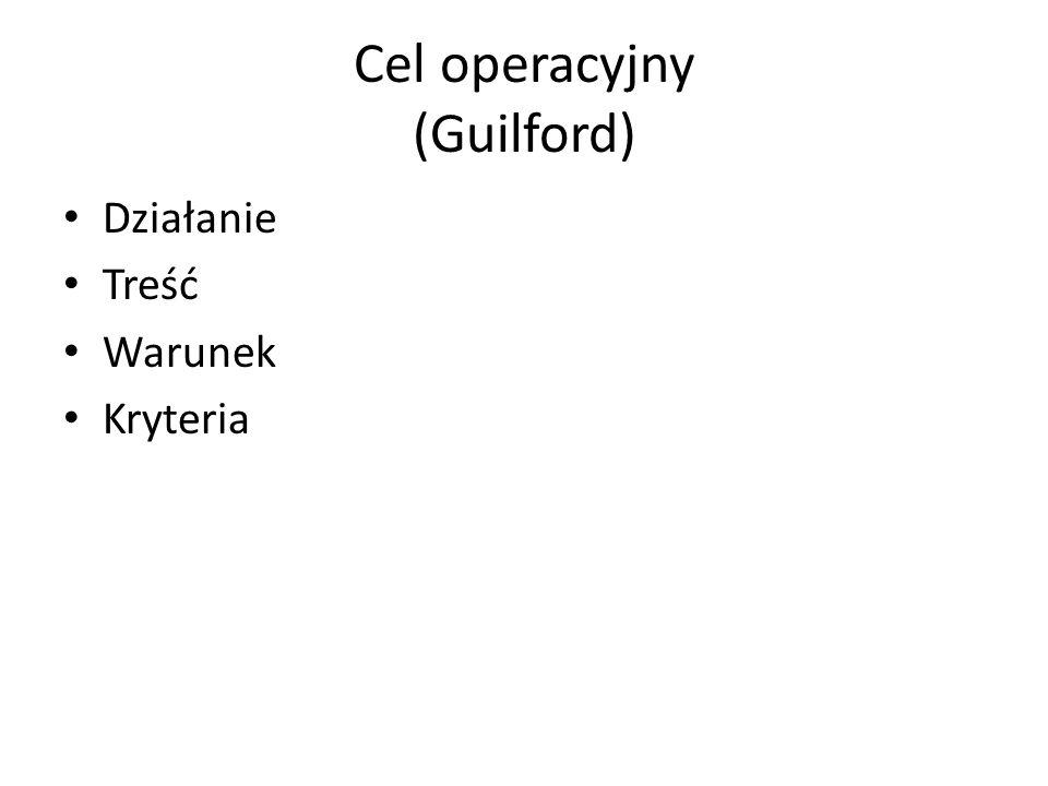 Cel operacyjny (Guilford) Działanie Treść Warunek Kryteria