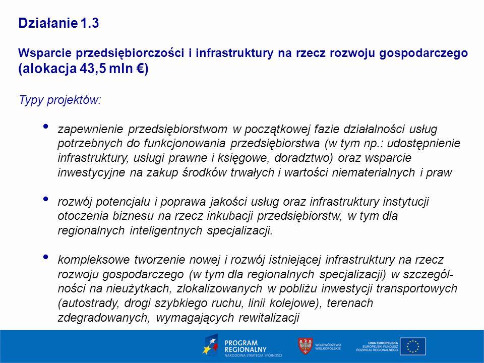 11 Działanie 1.3 Wsparcie przedsiębiorczości i infrastruktury na rzecz rozwoju gospodarczego (alokacja 43,5 mln €) Typy projektów: zapewnienie przedsiębiorstwom w początkowej fazie działalności usług potrzebnych do funkcjonowania przedsiębiorstwa (w tym np.: udostępnienie infrastruktury, usługi prawne i księgowe, doradztwo) oraz wsparcie inwestycyjne na zakup środków trwałych i wartości niematerialnych i praw rozwój potencjału i poprawa jakości usług oraz infrastruktury instytucji otoczenia biznesu na rzecz inkubacji przedsiębiorstw, w tym dla regionalnych inteligentnych specjalizacji.