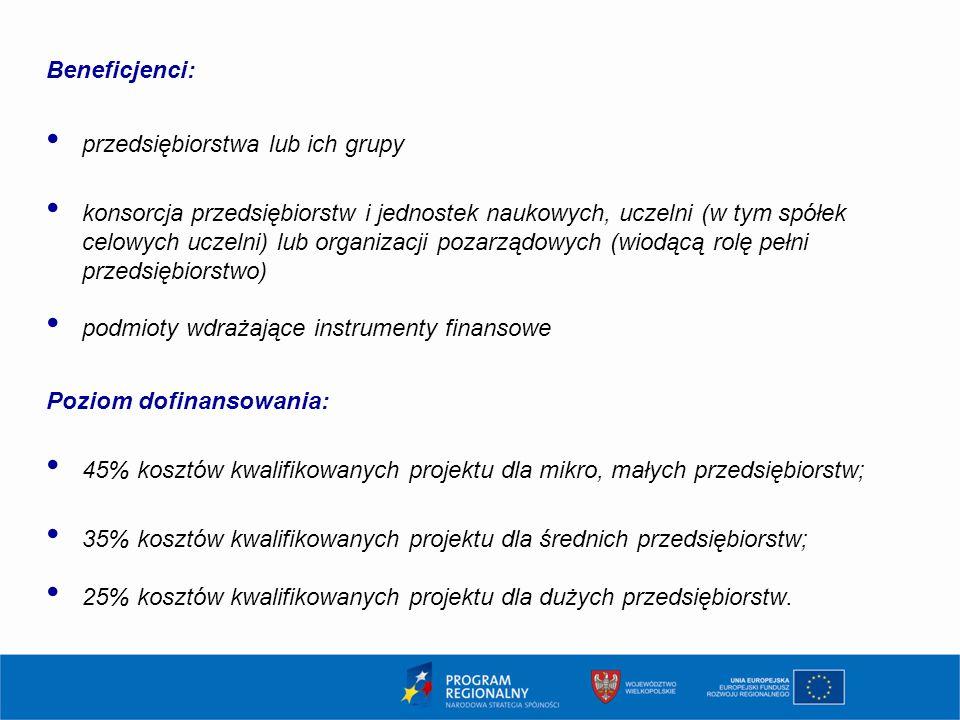 Beneficjenci: przedsiębiorstwa lub ich grupy konsorcja przedsiębiorstw i jednostek naukowych, uczelni (w tym spółek celowych uczelni) lub organizacji pozarządowych (wiodącą rolę pełni przedsiębiorstwo) podmioty wdrażające instrumenty finansowe Poziom dofinansowania: 45% kosztów kwalifikowanych projektu dla mikro, małych przedsiębiorstw; 35% kosztów kwalifikowanych projektu dla średnich przedsiębiorstw; 25% kosztów kwalifikowanych projektu dla dużych przedsiębiorstw.