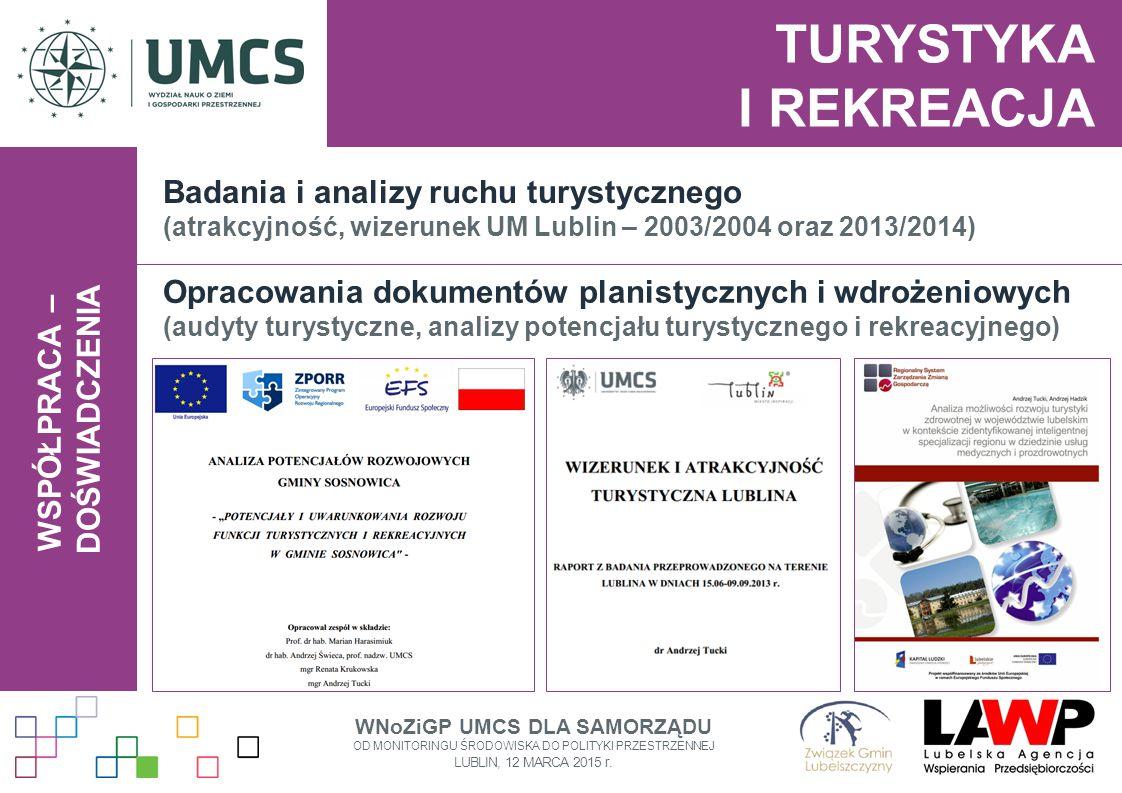 WSPÓŁPRACA – DOŚWIADCZENIA TURYSTYKA I REKREACJA Badania i analizy ruchu turystycznego (atrakcyjność, wizerunek UM Lublin – 2003/2004 oraz 2013/2014)