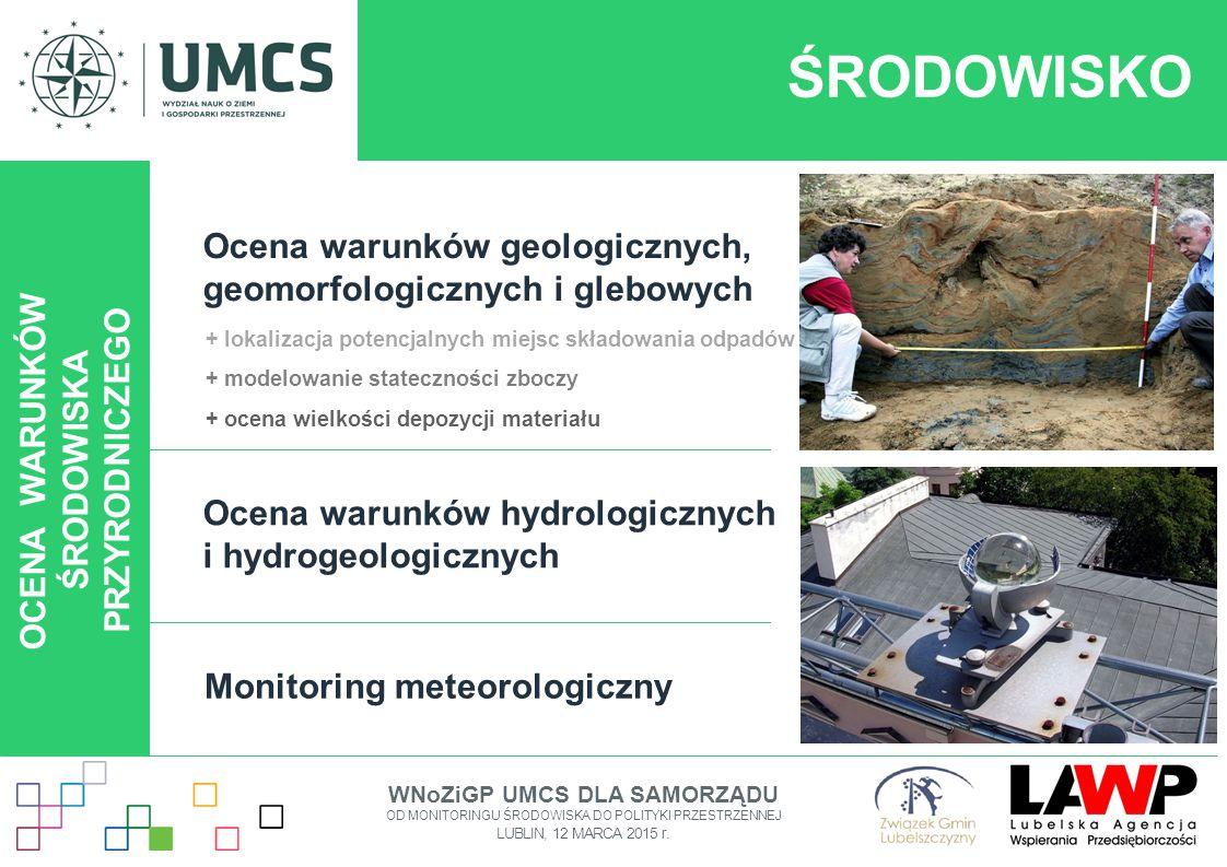 ŚRODOWISKO OCENA WARUNKÓW ŚRODOWISKA PRZYRODNICZEGO Ocena warunków geologicznych, geomorfologicznych i glebowych Ocena warunków hydrologicznych i hydr