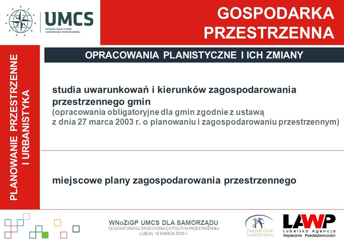 GOSPODARKA PRZESTRZENNA studia uwarunkowań i kierunków zagospodarowania przestrzennego gmin (opracowania obligatoryjne dla gmin zgodnie z ustawą z dni