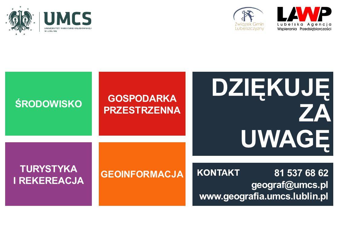 ŚRODOWISKO TURYSTYKA I REKEREACJA GOSPODARKA PRZESTRZENNA GEOINFORMACJA DZIĘKUJĘ ZA UWAGĘ 81 537 68 62 geograf@umcs.pl www.geografia.umcs.lublin.pl KO