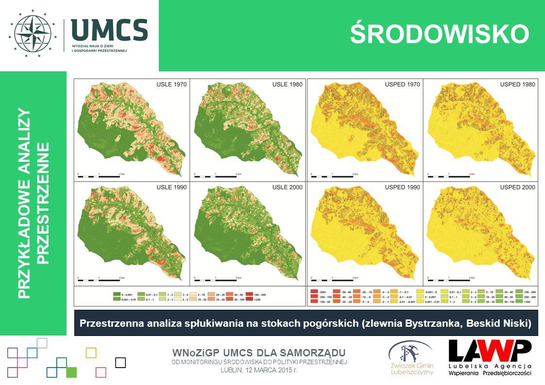ŚRODOWISKO PRZYKŁADOWE ANALIZY PRZESTRZENNE Przestrzenna analiza spłukiwania na stokach pogórskich (zlewnia Bystrzanka, Beskid Niski) WNoZiGP UMCS DLA