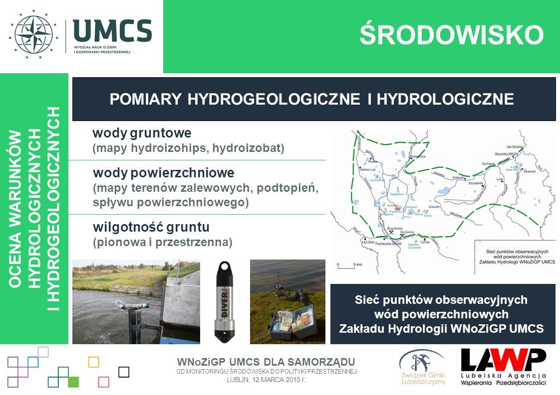ŚRODOWISKO OCENA WARUNKÓW HYDROLOGICZNYCH I HYDROGEOLOGICZNYCH POMIARY HYDROGEOLOGICZNE I HYDROLOGICZNE wody gruntowe (mapy hydroizohips, hydroizobat)