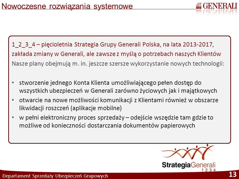 Nowoczesne rozwiązania systemowe Departament Sprzedaży Ubezpieczeń Grupowych 13 1_2_3_4 – pięcioletnia Strategia Grupy Generali Polska, na lata 2013-2