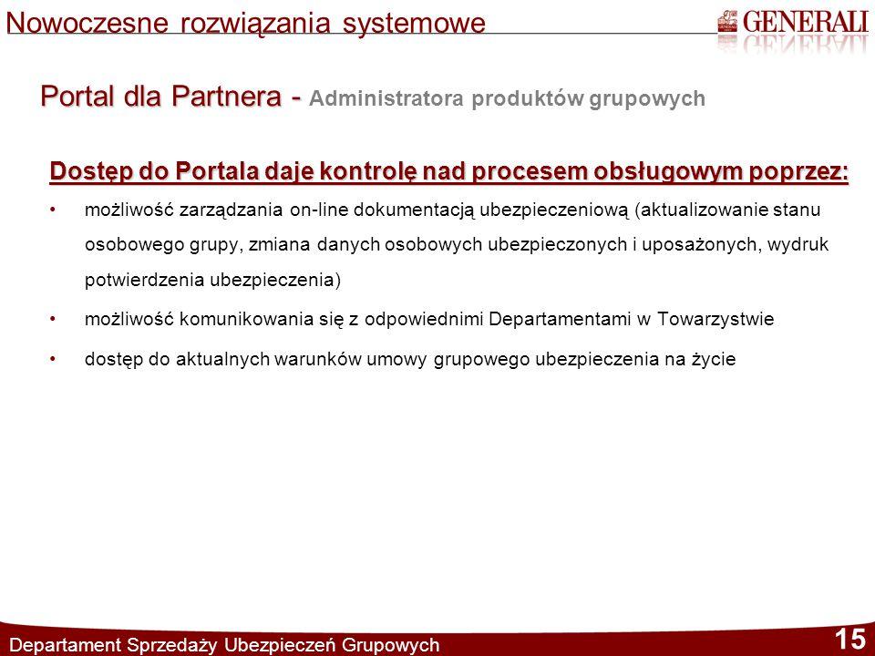 Departament Sprzedaży Ubezpieczeń Grupowych 15 Nowoczesne rozwiązania systemowe Portal dla Partnera - Portal dla Partnera - Administratora produktów g