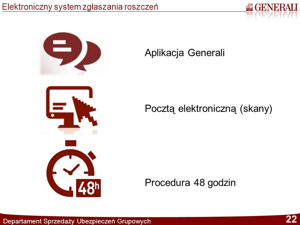 Elektroniczny system zgłaszania roszczeń Departament Sprzedaży Ubezpieczeń Grupowych 22 Aplikacja Generali Pocztą elektroniczną (skany) Procedura 48 g