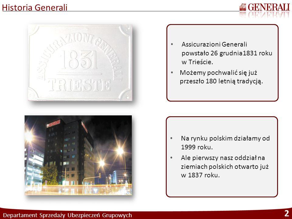 Historia Generali Departament Sprzedaży Ubezpieczeń Grupowych 2 Assicurazioni Generali powstało 26 grudnia1831 roku w Trieście. Możemy pochwalić się j