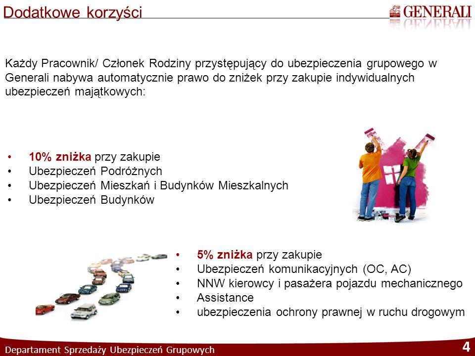 Departament Sprzedaży Ubezpieczeń Grupowych 5 Oferta