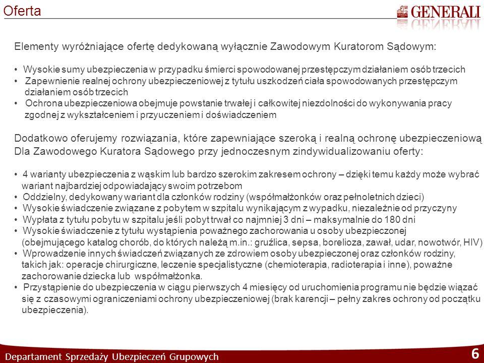 Departament Sprzedaży Ubezpieczeń Grupowych 6 Oferta Elementy wyróżniające ofertę dedykowaną wyłącznie Zawodowym Kuratorom Sądowym: Wysokie sumy ubezp