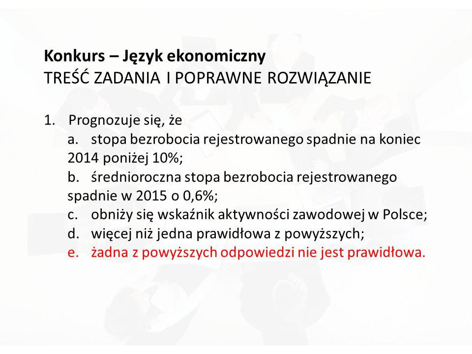 Konkurs – Język ekonomiczny TREŚĆ ZADANIA I POPRAWNE ROZWIĄZANIE 1.