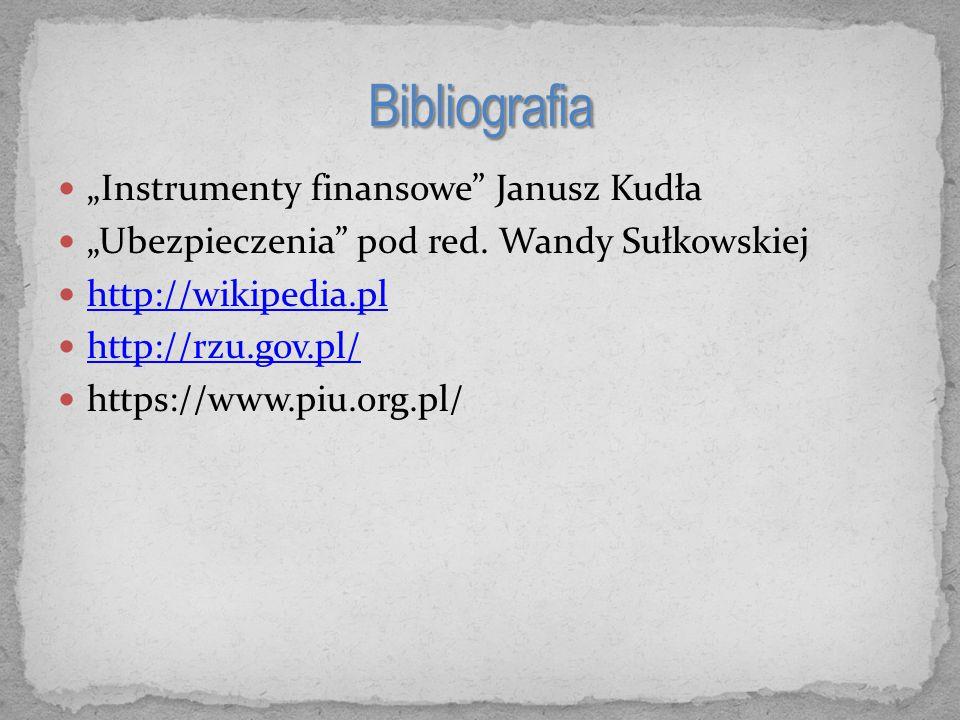 """""""Instrumenty finansowe Janusz Kudła """"Ubezpieczenia pod red."""