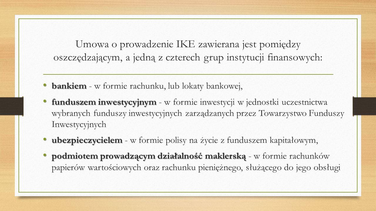 Umowa o prowadzenie IKE zawierana jest pomiędzy oszczędzającym, a jedną z czterech grup instytucji finansowych: bankiem bankiem - w formie rachunku, l