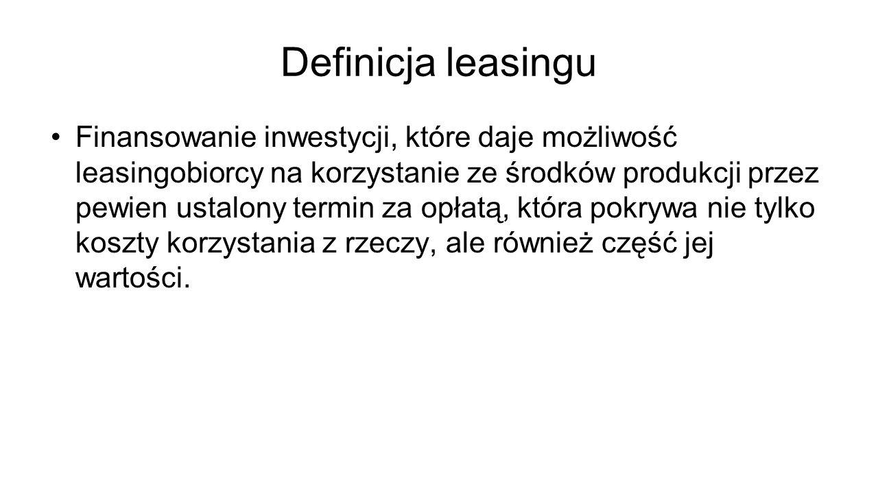 Definicja leasingu Finansowanie inwestycji, które daje możliwość leasingobiorcy na korzystanie ze środków produkcji przez pewien ustalony termin za op