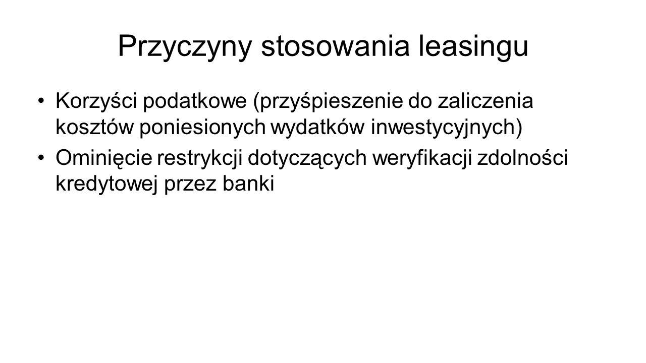 Przyczyny stosowania leasingu Korzyści podatkowe (przyśpieszenie do zaliczenia kosztów poniesionych wydatków inwestycyjnych) Ominięcie restrykcji doty