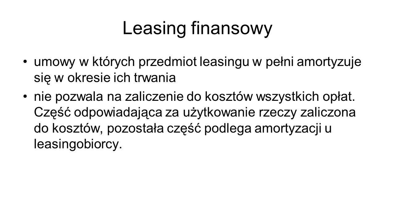 Leasing finansowy umowy w których przedmiot leasingu w pełni amortyzuje się w okresie ich trwania nie pozwala na zaliczenie do kosztów wszystkich opła