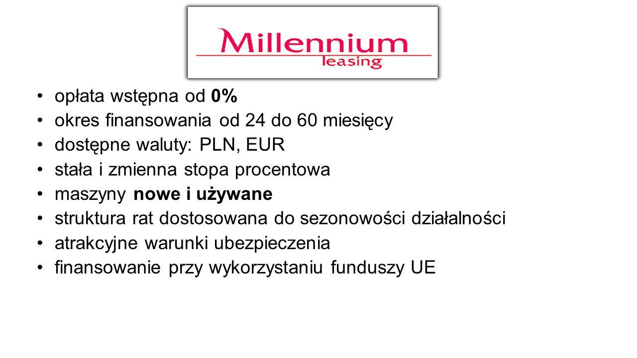 opłata wstępna od 0% okres finansowania od 24 do 60 miesięcy dostępne waluty: PLN, EUR stała i zmienna stopa procentowa maszyny nowe i używane struktu