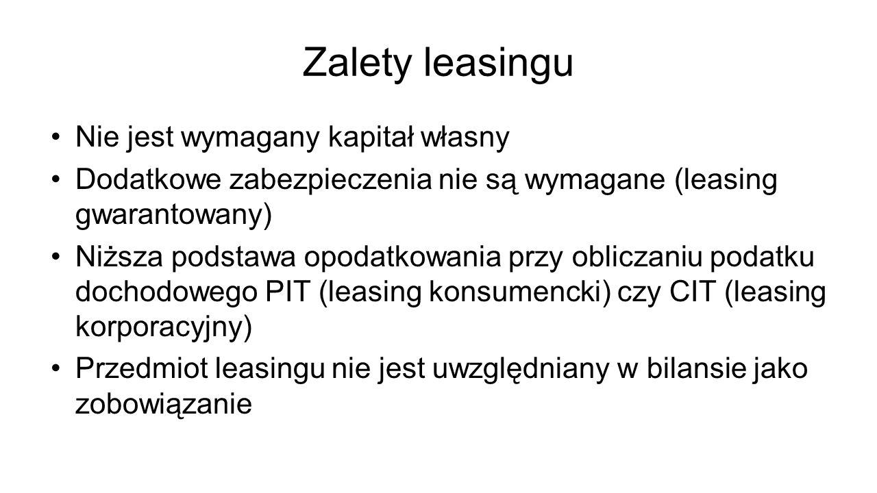 Zalety leasingu Nie jest wymagany kapitał własny Dodatkowe zabezpieczenia nie są wymagane (leasing gwarantowany) Niższa podstawa opodatkowania przy ob
