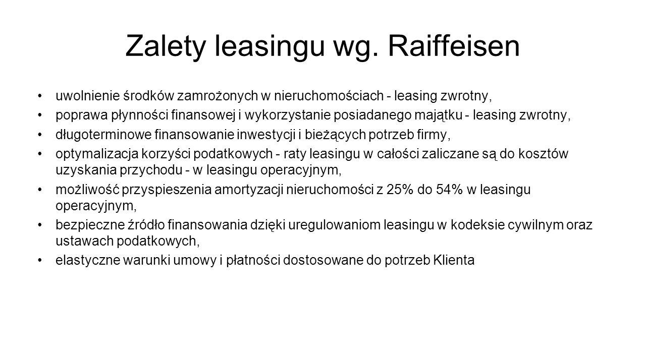 Zalety leasingu wg. Raiffeisen uwolnienie środków zamrożonych w nieruchomościach - leasing zwrotny, poprawa płynności finansowej i wykorzystanie posia