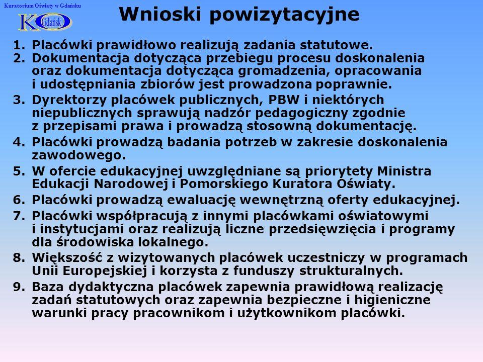 Kuratorium Oświaty w Gdańsku Plan nadzoru pedagogicznego nad placówkami doskonalenia nauczycieli i pedagogicznymi bibliotekami wojewódzkimi w roku szkolnym 2008/2009