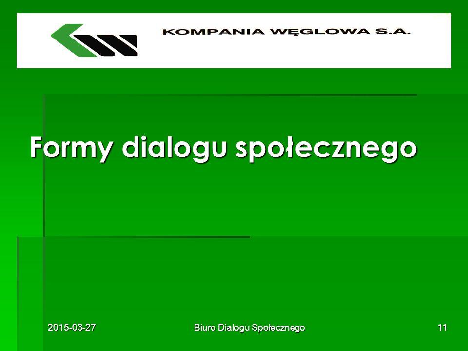 2015-03-27Biuro Dialogu Społecznego11 Formy dialogu społecznego