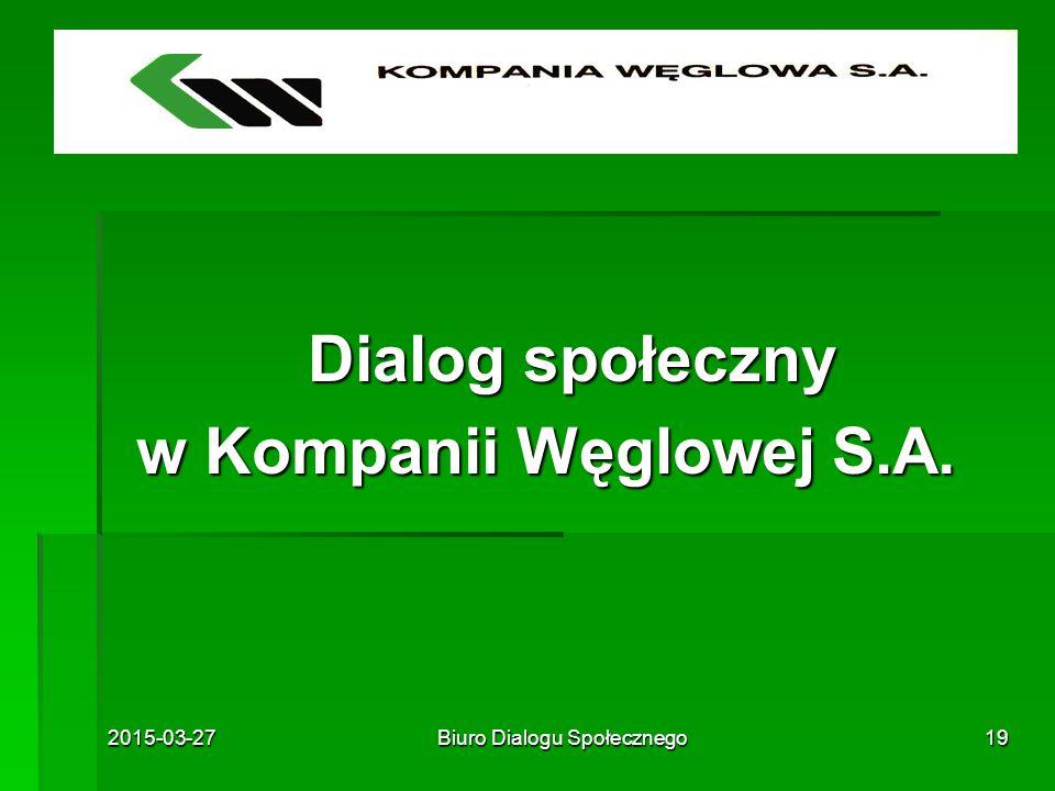 2015-03-27Biuro Dialogu Społecznego19 Dialog społeczny Dialog społeczny w Kompanii Węglowej S.A.