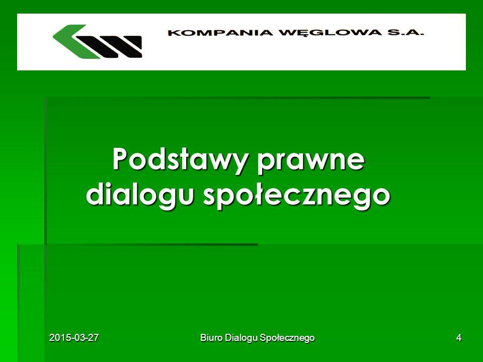 2015-03-27Biuro Dialogu Społecznego4 Podstawy prawne dialogu społecznego