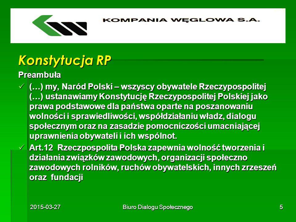 2015-03-27Biuro Dialogu Społecznego5 Konstytucja RP Preambuła (…) my, Naród Polski – wszyscy obywatele Rzeczypospolitej (…) ustanawiamy Konstytucję Rz