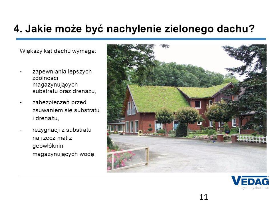 11 systemy dachowe 4. Jakie może być nachylenie zielonego dachu? Większy kąt dachu wymaga: -zapewniania lepszych zdolności magazynujących substratu or