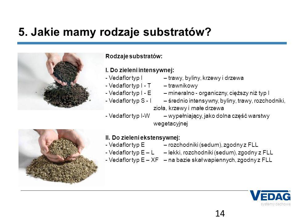 14 systemy dachowe 5. Jakie mamy rodzaje substratów? Rodzaje substratów: I. Do zieleni intensywnej: - Vedaflor typ I – trawy, byliny, krzewy i drzewa