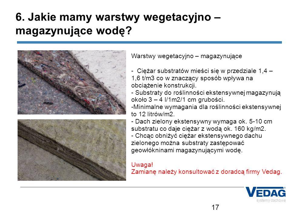 17 systemy dachowe Warstwy wegetacyjno – magazynujące - Ciężar substratów mieści się w przedziale 1,4 – 1,6 t/m3 co w znaczący sposób wpływa na obciążenie konstrukcji.