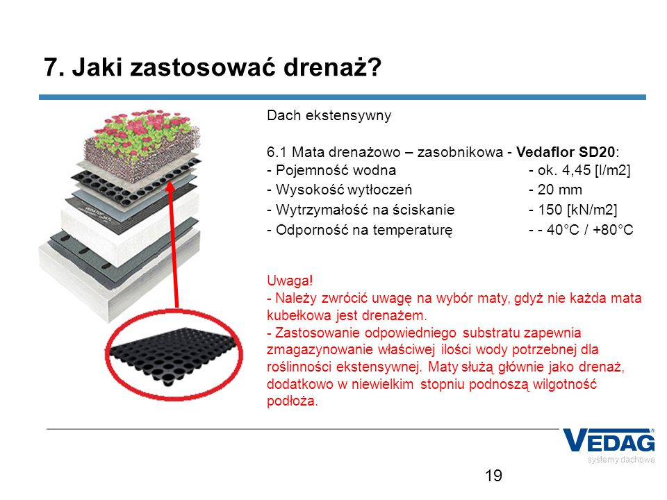 19 systemy dachowe 7. Jaki zastosować drenaż? Dach ekstensywny 6.1 Mata drenażowo – zasobnikowa - Vedaflor SD20: - Pojemność wodna - ok. 4,45 [l/m2] -