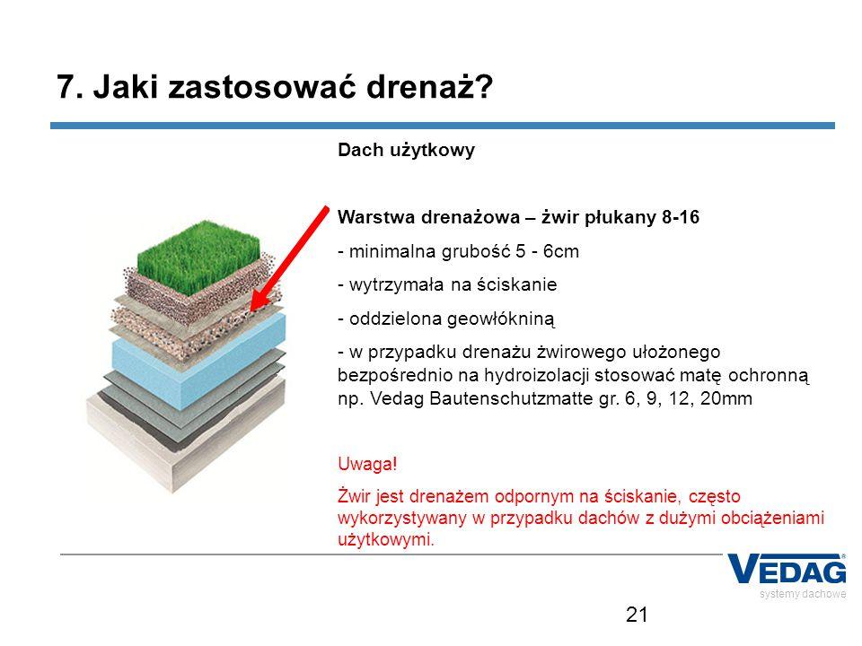 21 systemy dachowe 7. Jaki zastosować drenaż? Dach użytkowy Warstwa drenażowa – żwir płukany 8-16 - minimalna grubość 5 - 6cm - wytrzymała na ściskani