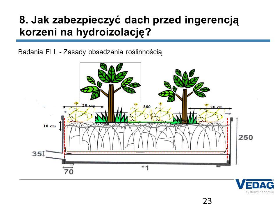 23 systemy dachowe Badania FLL - Zasady obsadzania roślinnością 8. Jak zabezpieczyć dach przed ingerencją korzeni na hydroizolację?