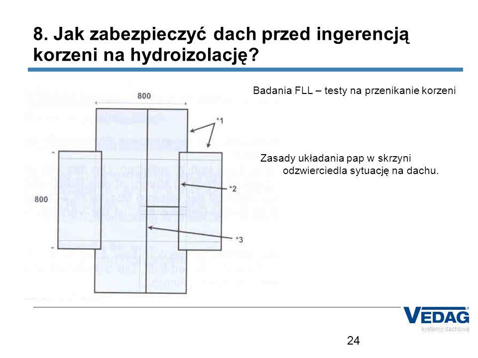 24 systemy dachowe 8. Jak zabezpieczyć dach przed ingerencją korzeni na hydroizolację? Badania FLL – testy na przenikanie korzeni Zasady układania pap