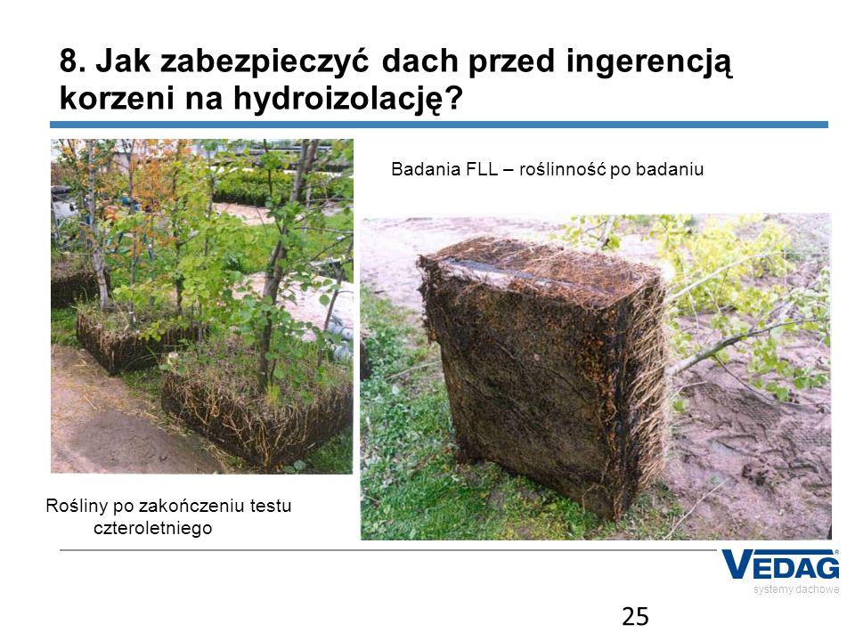 25 systemy dachowe Rośliny po zakończeniu testu czteroletniego 8. Jak zabezpieczyć dach przed ingerencją korzeni na hydroizolację? Badania FLL – rośli