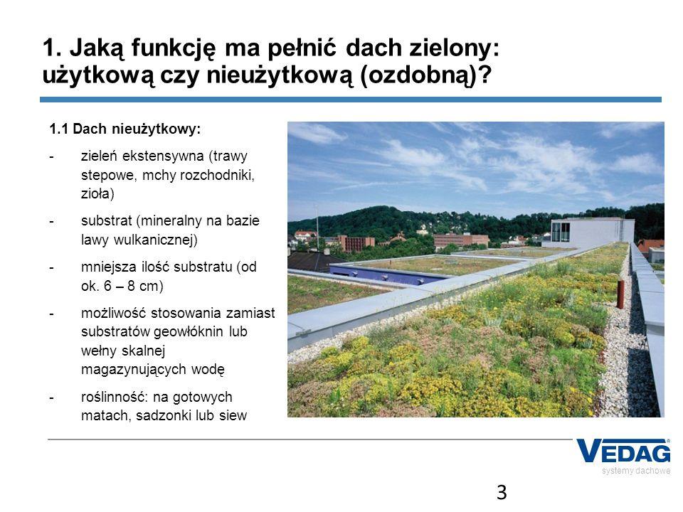 4 systemy dachowe 1.Jaką funkcję ma pełnić dach zielony: użytkową czy nieużytkową (ozdobną).