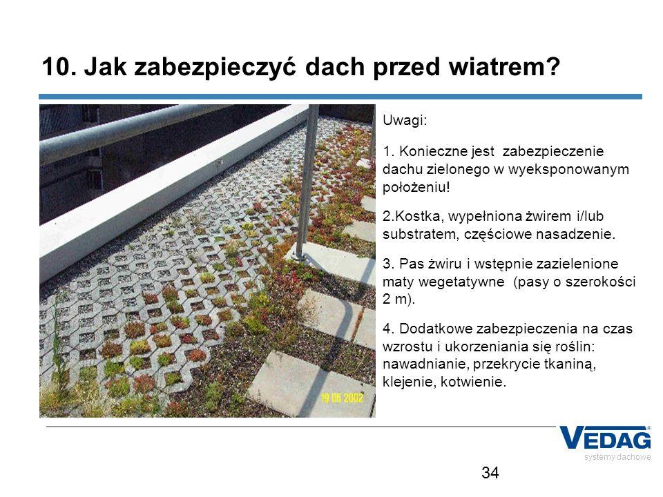 34 systemy dachowe 10. Jak zabezpieczyć dach przed wiatrem? Uwagi: 1. Konieczne jest zabezpieczenie dachu zielonego w wyeksponowanym położeniu! 2.Kost