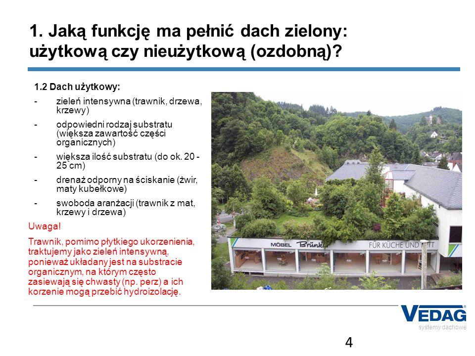 4 systemy dachowe 1. Jaką funkcję ma pełnić dach zielony: użytkową czy nieużytkową (ozdobną)? 1.2 Dach użytkowy: -zieleń intensywna (trawnik, drzewa,