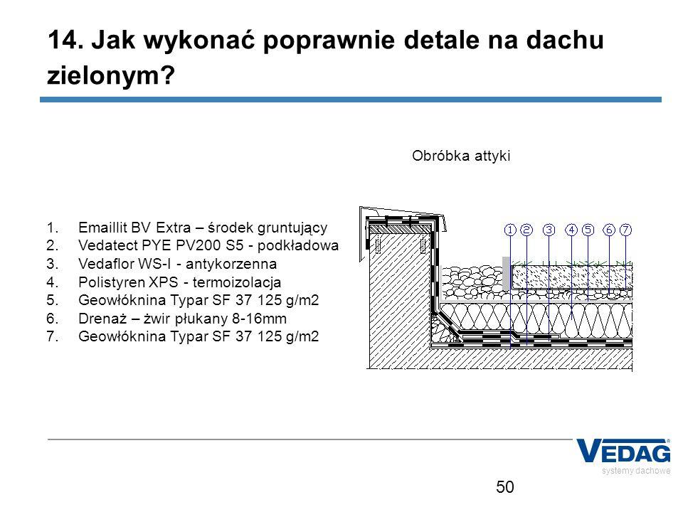 50 1.Emaillit BV Extra – środek gruntujący 2.Vedatect PYE PV200 S5 - podkładowa 3.Vedaflor WS-I - antykorzenna 4.Polistyren XPS - termoizolacja 5.Geowłóknina Typar SF 37 125 g/m2 6.Drenaż – żwir płukany 8-16mm 7.Geowłóknina Typar SF 37 125 g/m2 systemy dachowe Obróbka attyki 14.