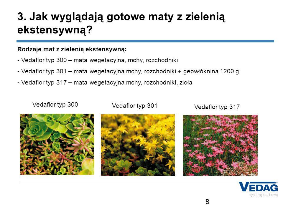 8 Rodzaje mat z zielenią ekstensywną: - Vedaflor typ 300 – mata wegetacyjna, mchy, rozchodniki - Vedaflor typ 301 – mata wegetacyjna mchy, rozchodniki