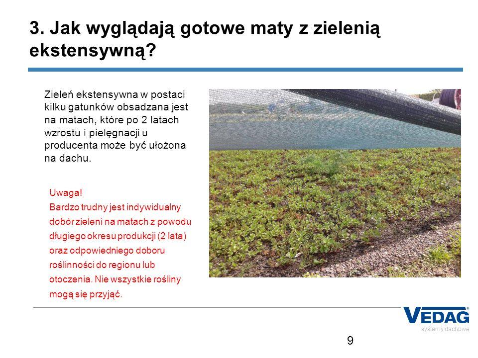9 systemy dachowe Zieleń ekstensywna w postaci kilku gatunków obsadzana jest na matach, które po 2 latach wzrostu i pielęgnacji u producenta może być