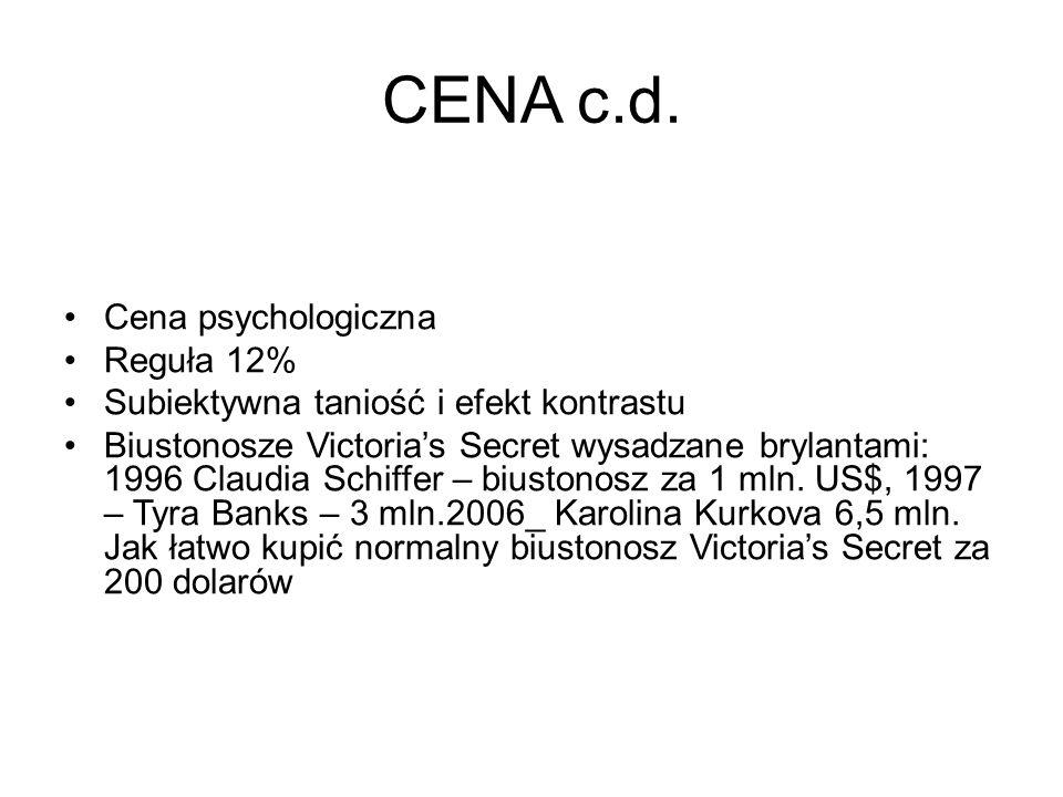 CENA c.d. Cena psychologiczna Reguła 12% Subiektywna taniość i efekt kontrastu Biustonosze Victoria's Secret wysadzane brylantami: 1996 Claudia Schiff