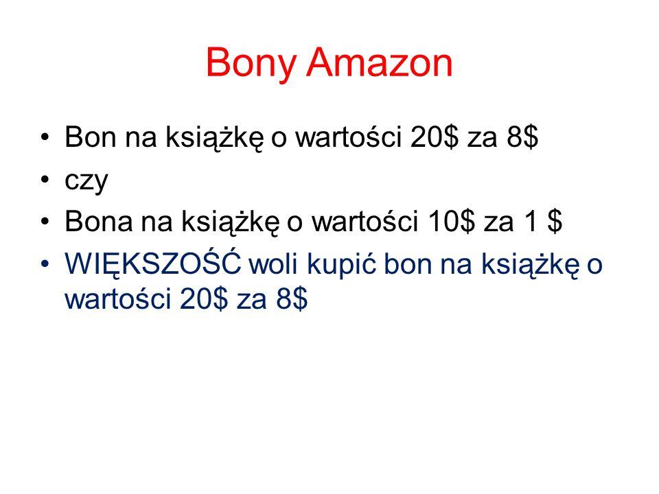 Bony Amazon Bon na książkę o wartości 20$ za 8$ czy Bona na książkę o wartości 10$ za 1 $ WIĘKSZOŚĆ woli kupić bon na książkę o wartości 20$ za 8$