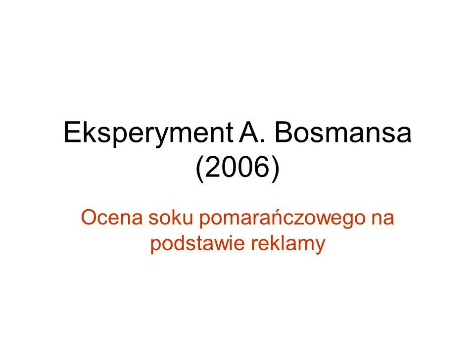 Eksperyment A. Bosmansa (2006) Ocena soku pomarańczowego na podstawie reklamy