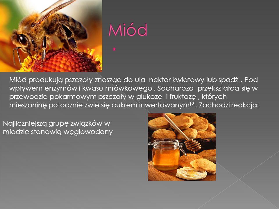 Miód produkują pszczoły znosząc do ula nektar kwiatowy lub spadź.