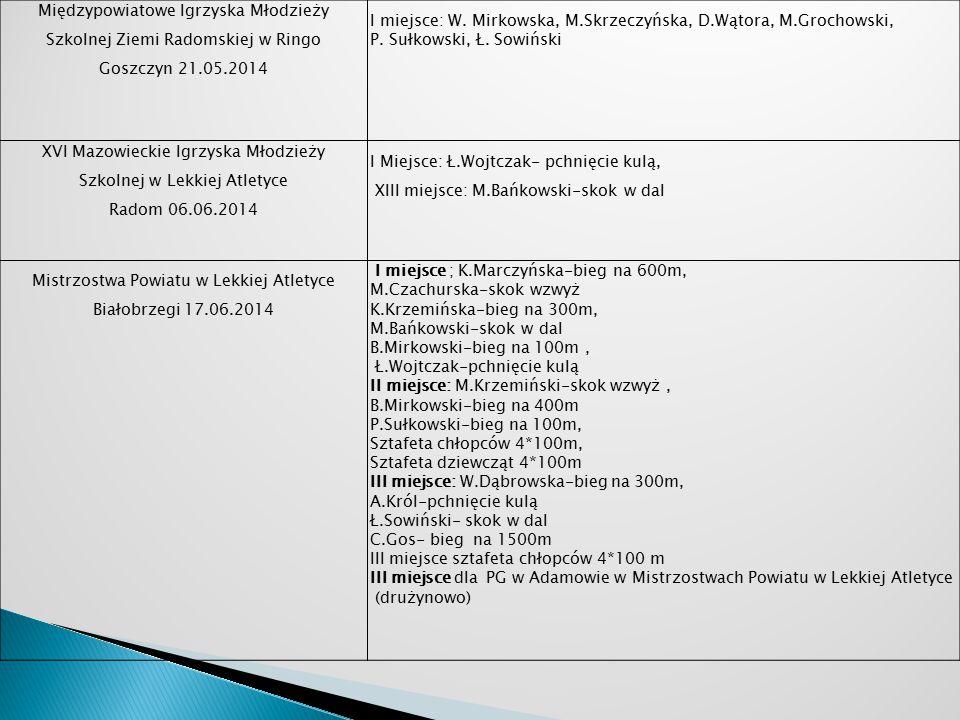 Międzypowiatowe Igrzyska Młodzieży Szkolnej Ziemi Radomskiej w Ringo Goszczyn 21.05.2014 I miejsce: W.