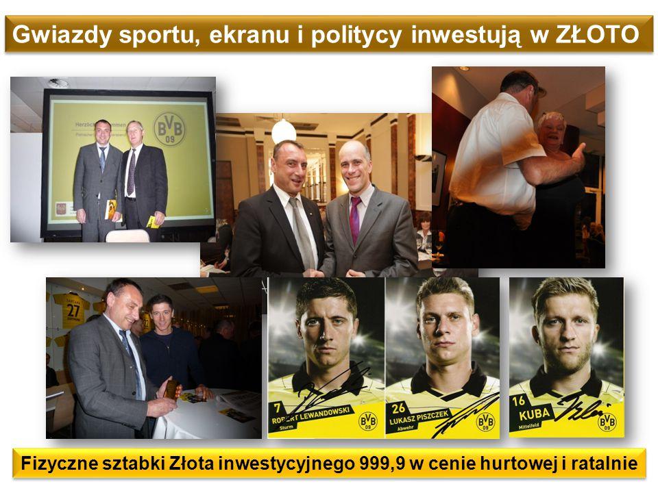 Fizyczne sztabki Złota inwestycyjnego 999,9 w cenie hurtowej i ratalnie Gwiazdy sportu, ekranu i politycy inwestują w ZŁOTO